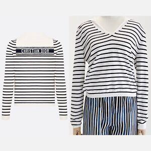New Dior dioriviera sailor top Marinière Silk Cotton Knit 144S49AM603 FR36 $1500