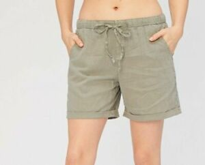 XCVI Wearables Quincy Cotton Linen Drawstring Shorts Bayberry Green S NWT