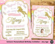 UNICORN PERSONALISED INVITATION INVITE PINK GOLD 1ST FIRST BIRTHDAY BABY SHOWER