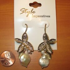 Flower Iridescent White Shell New Style Imperatives Pierced Earrings Gold Tone