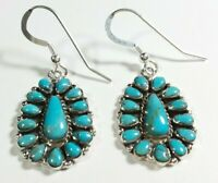 "925 STERLING SILVER FLOWER CLUSTER DESIGN TURQUOISE 1 5/8"" x 5/8"" HOOK EARRINGS"