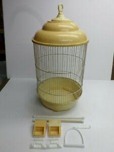 Vintage ROUND METAL WIRE BIRD CAGE w/ ACCESSORIES - PLASTIC/RESIN BASE
