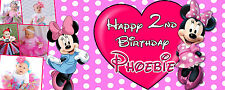 Minnie Mouse PERSONALISED PARTY BANNER Birthday, Christening - upto 6 PHOTOS
