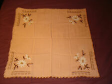 #069 Beautiful Vintage Hand-Embroidered Tablecloth 27.5'/27.5'(70cm/70cm)