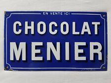 Ancienne plaque émaillée publicitaire Chocolat MENIER cacao décoration cuisine