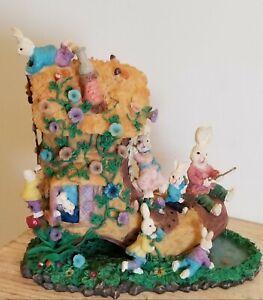 Bunny Family Tree House, Shoe Shaped Resin Figurine, Fishing Hole, Easter