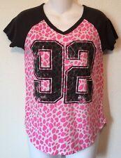 Juniors Shirt Size Small Modern Lux Brand Gray Short Sleeve Pink Cheetah Print