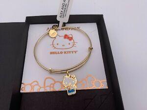 NEW Alex and Ani HELLO KITTY ROSES Charm Bangle Bracelet Shiny Gold NWT & BOX