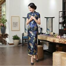 Blue Vintage Womens Long style Qipao Gown Cheongsam silk brocade Chinese dress