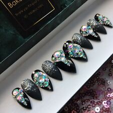 Hand Painted False Nails Black Diamonds And Glitter Stiletto  Full Cover Tips