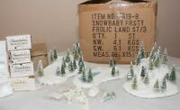 Dept 56 Snowbabies Frosty Frolic Land Set 7619-8 Trees/Figures Ret'd 1998 Minis