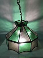 VINTAGE LEAD LIGHT CEILING LIGHT PENDANT LAMP STAINED GLASS Hand Made Quality