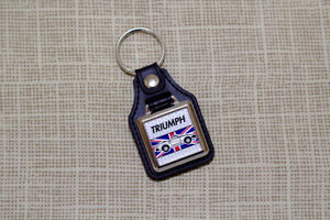 Triumph TR7 TR8 Convertible Keyring - Leatherette and Chrome Keyfob