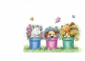 3 Puppies in Flower Pots and Butterflies Craft Stamp
