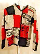 Susan Bristol 1999 Hand Knit Geometric Red Black Gray Wht Sweater Cardigan SZ LG