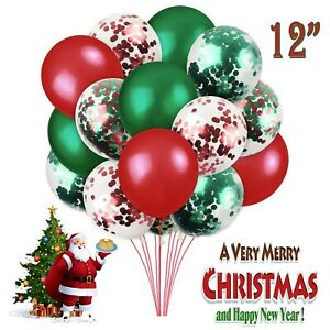 50pcs Merry Christmas Latex Balloons Green & Red  Xmas bells Decoration UK