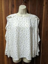 Ann Taylor Loft New With Tags Long Sleeve White Ruffle Floral Top