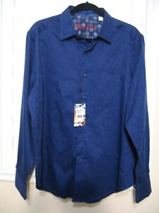 ROBERT GRAHAM AMBERLY  L/S SHIRT     NAVY BLUE     NEW     size LARGE