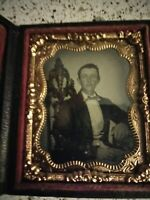 1/9 Plate Ambrotype / Gentleman seated at a table