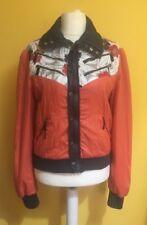 DIESEL Orange and Floral Patterned Women's Bomber Jacket ~LARGE 12-14~Padded