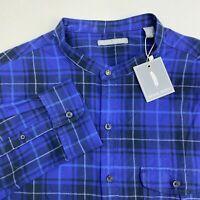 Michael Bastian Button Up Flannel Shirt Men's Size XL Long Sleeve Blue Plaid