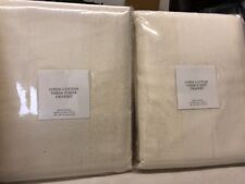 "2 Restoration Hardware Belgian Linen Cotton Sheer Stripe Drapes Panels 100""x108"""