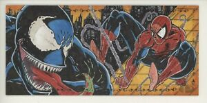 2019 Marvel Premier Triple-Panel Sketch Venom & Spider-Man by Rob Broussard