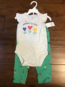 Carter's Two Piece Pants and Bodysuit Set Little Sister baby girl NWT 18 months