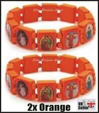 2X ORANGE Wooden Elasticated Saints Bracelet Jesus Wristband Religious Saints NE