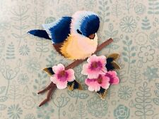 🕊Large Blue Tit Bird on Pink Blossom Branch Sew or Iron-On Appliqué Patch 🦜