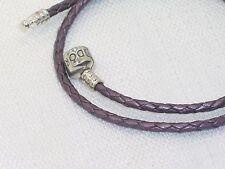 Pandora Purple Braided Double Leather Charm Bracelet 38 cm 590705CPE-D2