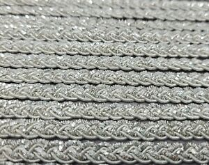 "New VTG Bolt 10 YDS Silver Sparkly Metal Braided Beaded 1/4"" Trim Sewing Crafts"