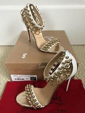 NIB Auth Christian Louboutin Gypsandal White Ring Ankle Strap Sandals Heels 37 7
