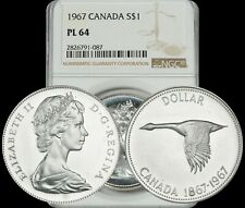 1967 CANADA GOOSE SILVER $1 DOLLAR BU NGC PL64 PROOF LIKE COIN IN HIGH GRADE