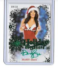 2014 BENCHWARMER HOLIDAY AUTOGRAPH GREEN FOIL BRANDY GRACE AUTO,SIGNED 4/10