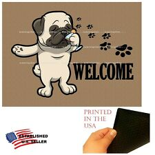 Pug Dog Cocktail Bar Drinking Welcome Home Doormat Door Floor Mat Rug