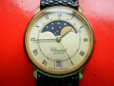 18K GP Swiss Chantel Moonphase Date Quartz Watch