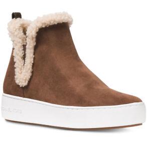 New MICHAEL KORS Size 10 Ashlyn Suede Shearling Boots Sneaker Dark Caramel