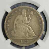 1872-CC SEATED LIBERTY SILVER HALF DOLLAR NGC VG 8 COLLECTOR COIN FREE SHIPPING