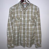 Women's North Face Size XL Beige Plaid Long Sleeve Vented Button Up Shirt