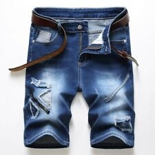 New Style Mens Ripped Denim Shorts Fashion Blue Wash Faded Brand Jeans Pants