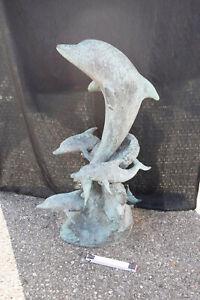 Bronze-Delfingruppe auf Welle (Spritzer) Spanien ca.45kg H:100