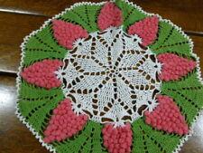 "New ListingVintage Hand Crocheted Crochet Grape Doily Centerpiece 15"" Pink Fuchsia Grapes"