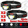 5X 85000Lm Motion Sensor LED Headlamp Headlight USB Rechargeable Head Lamp Torch