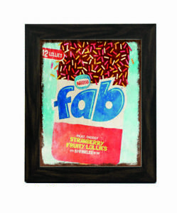 11227 Fab milky choccy strawberry ice fruity lollies framed picture frame print