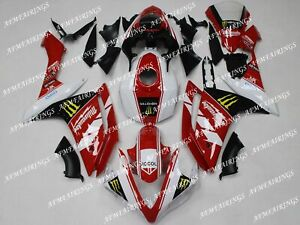 White Red ABS Injection Mold Bodywork Fairing Kit Panels for YZF R1 2007 2008