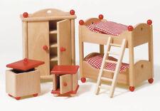 Puppenhausmöbel KINDERZIMMER aus Holz NATUR Puppenmöbel Holzmöbel Biegepuppen