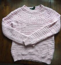 Womens Pink LAUREN RALPH LAUREN Crochet Alpaca Wool Sweater Size MEDIUM