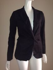 Victoria's Secret 4 Long Lean One Button Blazer Jacket Black Stretch Cotton
