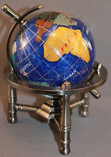 Genuine Multi-Gemstone Desktop Globe Pewter Tone Base Navy Blue Globe Free S&H